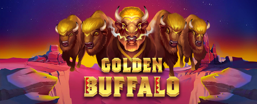 The buffalo is a legendary animal in the old western plains; the Golden Buffalo is a legendary slot machine ready to reward you with majestic riches!
