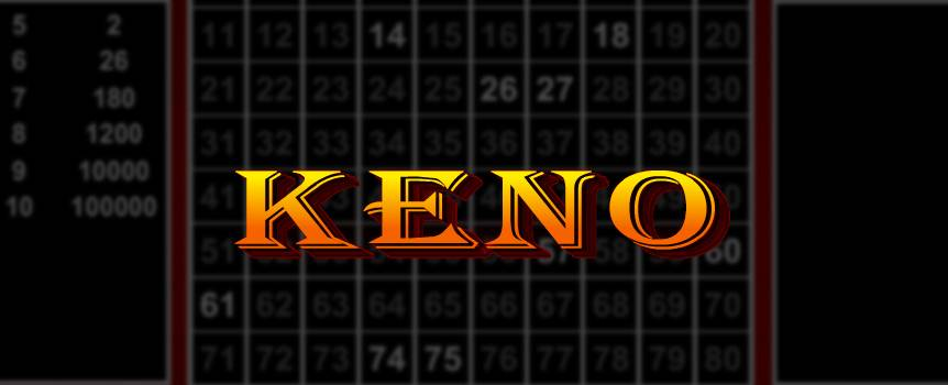 "Try your hand at the oldest game played in casinos. This lottery-style game is simple to learn and fun to play. The Keno Card displays 1 to 80 numbers, and you select which numbers you think will be called – you can choose up to 15 numbers. Bet between $1, $5, and $10 regardless of how many numbers you select.  When you're ready to go, hit ""play"" and watch as 20 numbers are randomly selected and highlighted on the card. Did your lucky number hit? Naturally, the more numbers you guessed right, the higher your winnings will be."